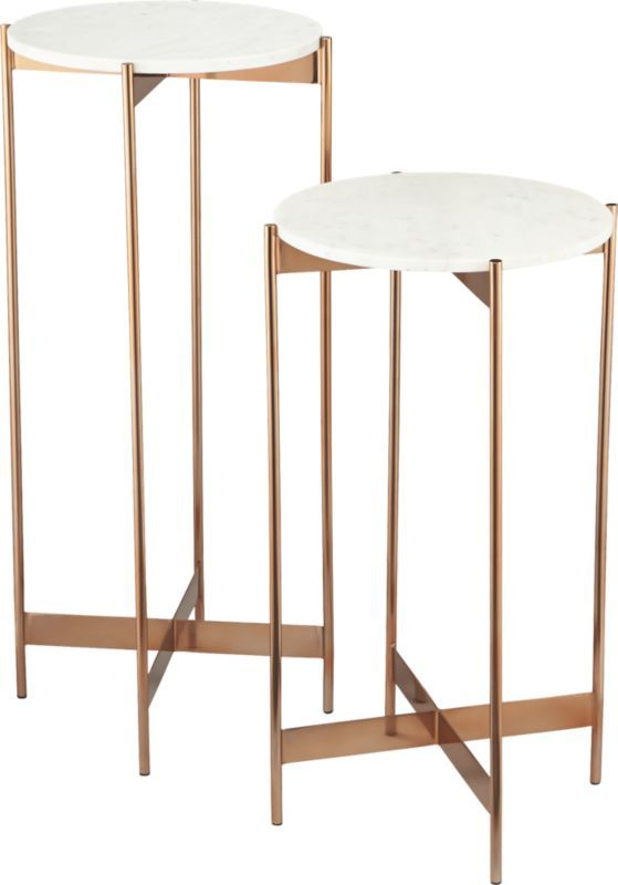 Nesting table with marble top